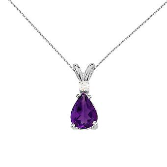 14k White Gold Pear Shaped Amethyst and Diamond Pendant with 18