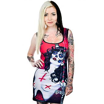 Too Fast Womens Possession Dress Red Black Day Of The Dead Cross