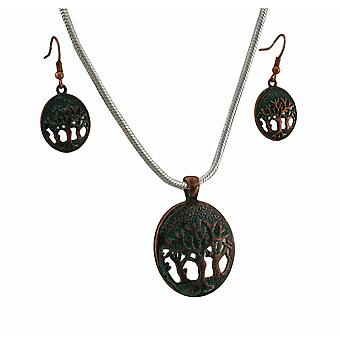 Tree of Life Verdigris Patina Necklace and Earrings Set