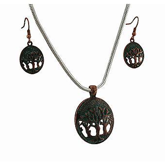 Árbol de la vida verdín pátina collar y pendientes conjunto