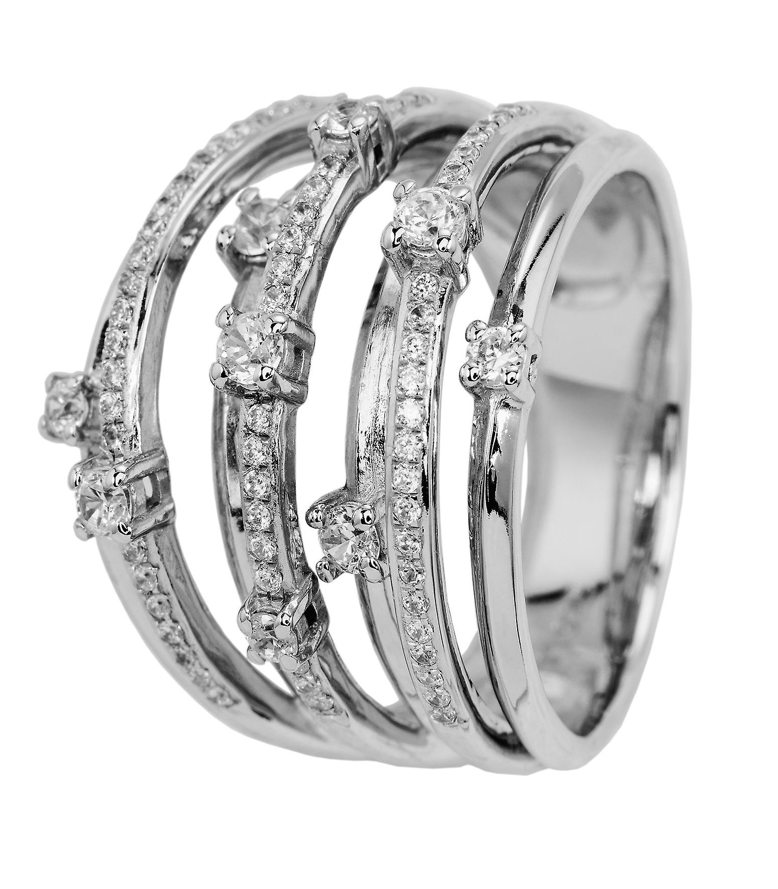 Burgmeister women's ring JBM2012-111, 925 sterling silver rhodanized, white zirconia