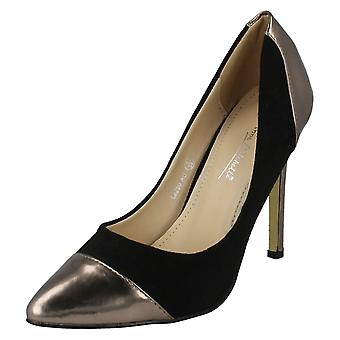 Ladies Anne Michelle Pointed Toe Cap High Heel Court Shoe L2250