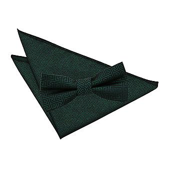 Dark Green Greek Key Bow Tie & Pocket Square Set
