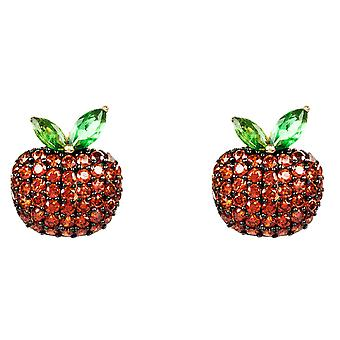 Latelita Apple Fruit Stud Earring 925 Sterling Silver Gold Red Green CZ