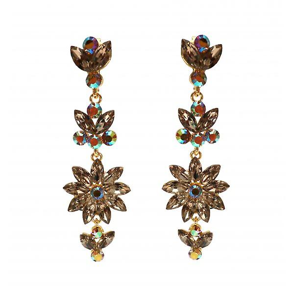 W.A.T Gold Style Gold Crystal Flower Shaped Clip On Fashion Earrings