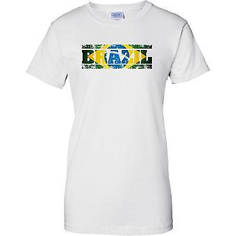 Efeito de bandeira de nome de país de Grunge Brasil - feminina T-Shirt
