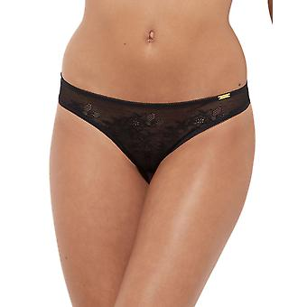 Gossard 13006 Women's Glossies Lace Black Panty Thong