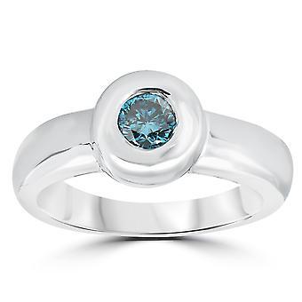 1 / 3ct Solitär Lünette behandelt Blue Diamond Engagement Ring 14K Weissgold