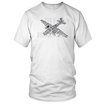 RAF Lancaster Bomber WW2 Diagram Blueprint Mens T Shirt