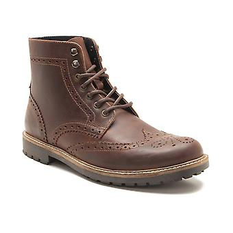 Red Tape Whitwell Men's Wood Brown Leather Brogue Worker Boots