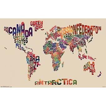 World Map - Text Poster Poster Print