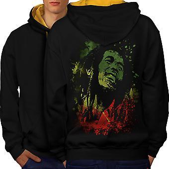 Bob Rasta Marley hombres negro (campana de oro) contraste con capucha detrás de la leyenda | Wellcoda