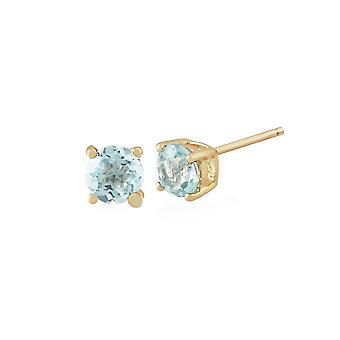 Gemondo Aquamarine Round Stud Earrings In 9ct Yellow Gold 3.50mm Claw Set