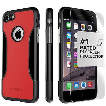 SaharaCase iPhone 8 y 7 caso clásico de Viper rojo, paquete de Kit de protección con pantalla de cristal templado ZeroDamage
