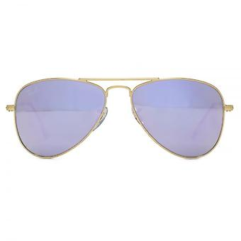 Ray-Ban Junior Aviator Sunglasses In Matte Gold Lilac Flash