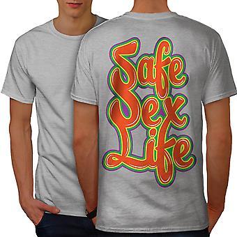 Safe Sex Life Cool Slogan Men GreyT-shirt Back | Wellcoda