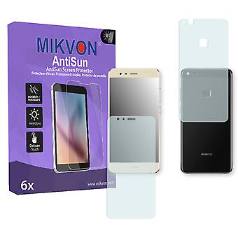 Huawei P10 lite the front / the reverse Screen Protector - Mikvon AntiSun (Retail Package with accessories) (3x FRONT / 3x BACK) (intentionally smaller than the display due to its curved surface)