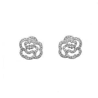 Womens Silver Cubic Zirconia stenar blomma örhängen