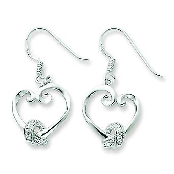 Sterling Silver Dangle Polished Gift Boxed Shepherd hook Rhodium-plated Cubic Zirconia Earrings