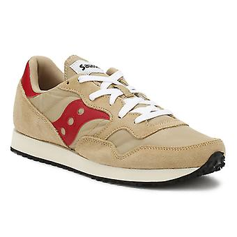 Saucony Mens Tan / Red DXN Vintage Trainers