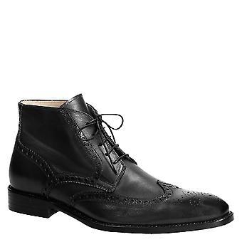 Vestido hecho a mano botines para hombre en cuero negro