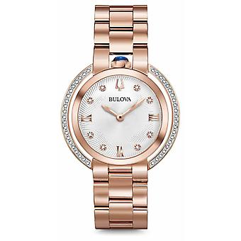 Bulova Womans Rubaiyat Rose Gold Tone Diamond 98R248 Watch
