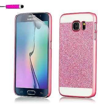 Cas de paillettes pour Samsung Galaxy S6 SM-G920 + stylet - rose