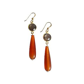 Gemshine - damas - pendientes - oro - cornalina - cuarzo ahumado - naranja - marrón - partido gotas - 5 cm