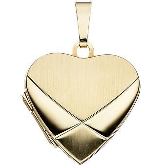 Anhänger TRINIDAD Herz gold 585 Medaillon teilmattiert