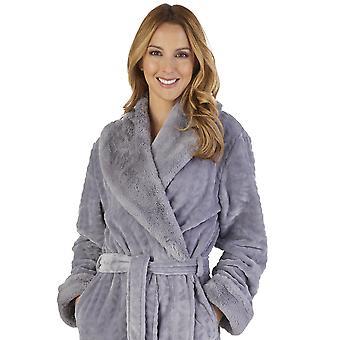 Slenderella HC2343 kvinders Faux krave kåbe Loungewear bad slåbrok