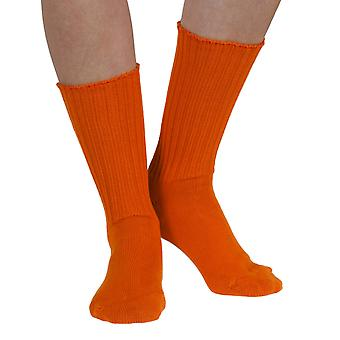 Fremont women's elastic free (soft topped) cotton crew socks in tango