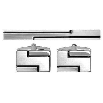David Van Hagen Set mancuernas alineada y corbata diapositiva - plata/negro