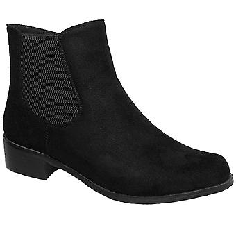 GLC541 Ladies Mezzo Faux Suede Elasticated Side Low Heel Ankle Boots Shoes
