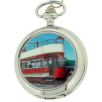 Boxx Gents White Dial Tram Pocket Watch on 12 Inch Chain Boxx90