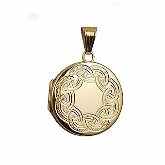 9ct золота 23 мм круглые плоские Селтик ручной гравировкой медальон