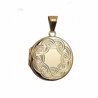 9ct Gold 23mm round flat Celtic hand engraved Locket