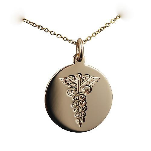 9ct Gold 20mm round hand engraved medical alarm Disc with a cable Chain 18 inches