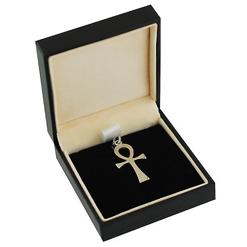 9ct White Gold 32x16mm plain solid Ankh or Peace Cross