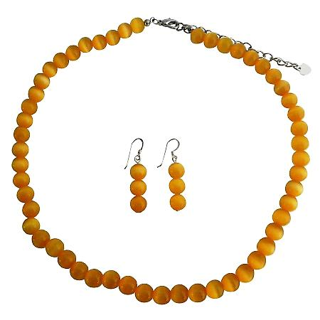 Stunning Saffron Cats Eye Sterling Silver Necklace Earrings