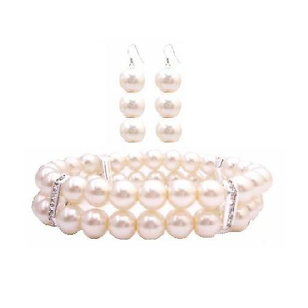 Ivory Pearls Double Stretchable Bracelet Bridesmaid Earrings Set