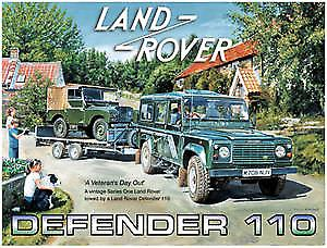 Land Rover Defender 110 (& S.1 on trailer) metal sign  (og 4030)