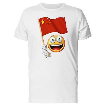 Happy Emoji holde kinesisk flagg Tee menn-bilde av Shutterstock