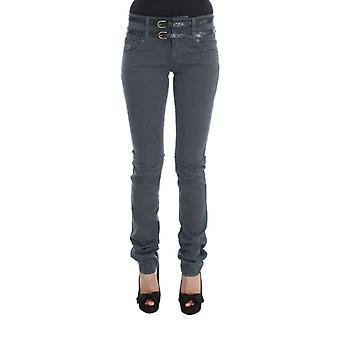 Galliano Blue Cotton Blend Slim Fit High Waist Jeans -- SIG3658352