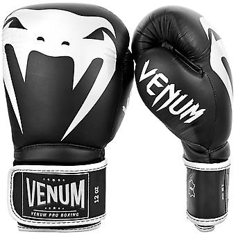 Venum Giant 2.0 Hook & Loop Leather Pro Boxing Gloves - Black/White
