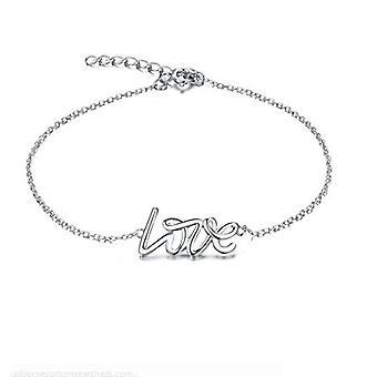 """925 Sterling Silver """"love"""" Stamped Letter Bracelet"""