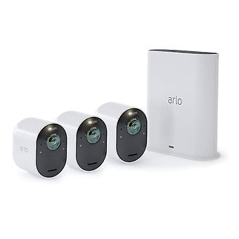 Arlo Ultra 4K UHD Wire-Free Security 3 Camera System, Indoor/Outdoor Security Cameras with Colour Night Vision, 180 Degree View, 2-Way Audio, Spotlight, Siren, (VMS5340)