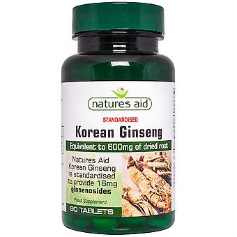 Natures Aid Korean Ginseng 40mg (600mg equiv), 90 Tablets. Suitable for Vegans.