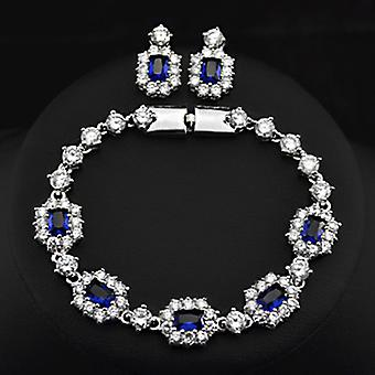 18K Gold Plated White And Blue Sapphire Set