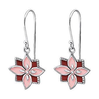 Square Flower - 925 Sterling Silver Plain Earrings - W25859X