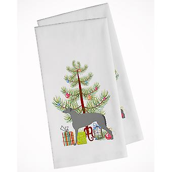 Scottish Deerhound Merry Christmas Tree White Kitchen Towel Set of 2